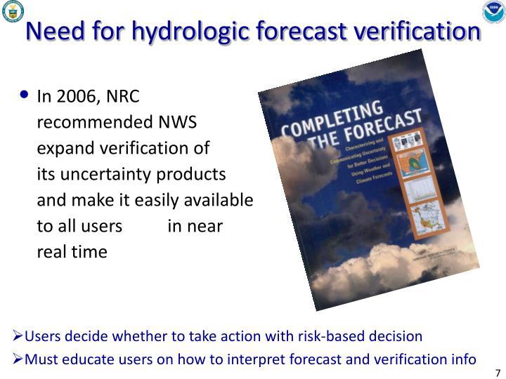 Need for hydrologic forecast verification