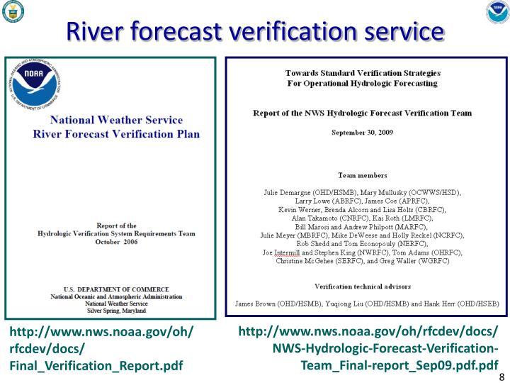 River forecast verification service