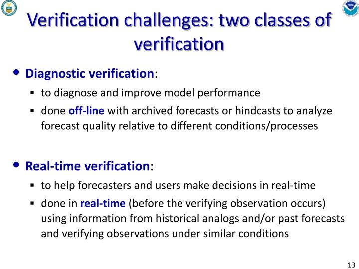 Verification challenges: two classes of verification