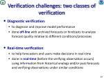 verification challenges two classes of verification
