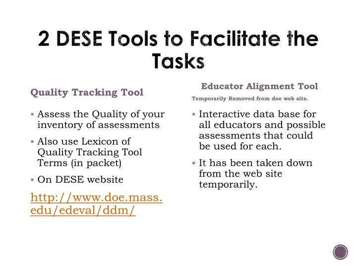 2 DESE Tools to Facilitate the Tasks