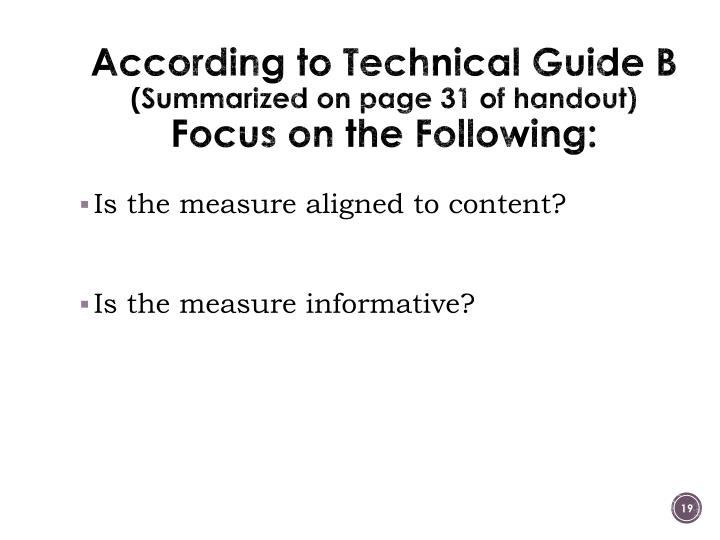 According to Technical Guide B