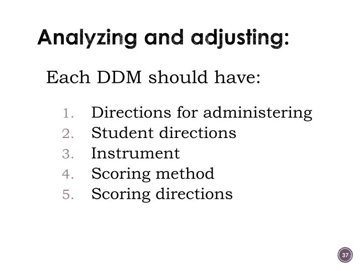 Analyzing and adjusting: