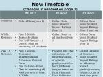 new timetable changes in handout on page 3