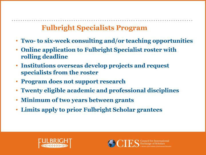 Fulbright Specialists Program
