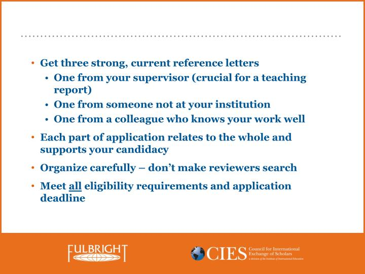 Get three strong, current reference letters