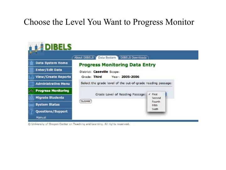Choose the Level You Want to Progress Monitor