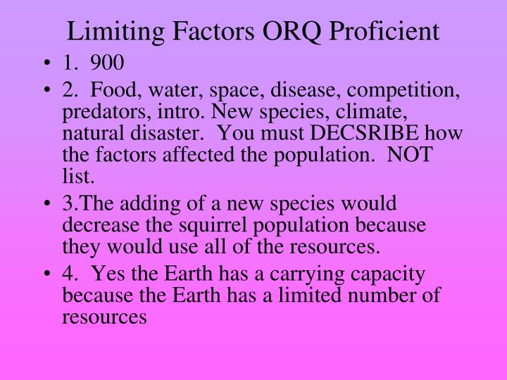 Limiting Factors ORQ Proficient