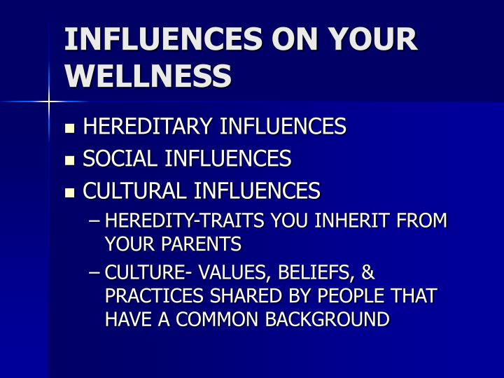 INFLUENCES ON YOUR WELLNESS