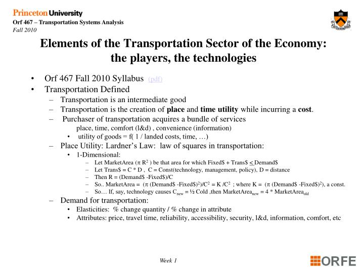 Elements of the transportation sector of the economy the players the technologies