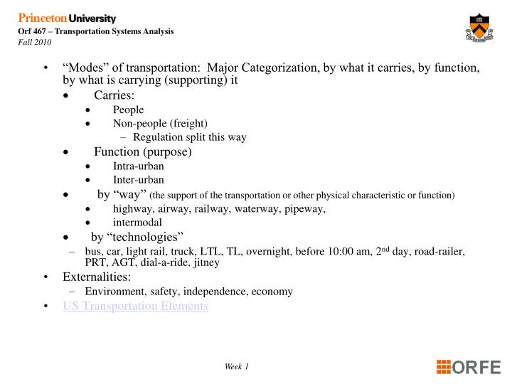 """Modes"" of transportation:  Major Categorization, by what it carries, by function, by what is ca..."