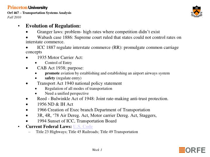 Evolution of Regulation: