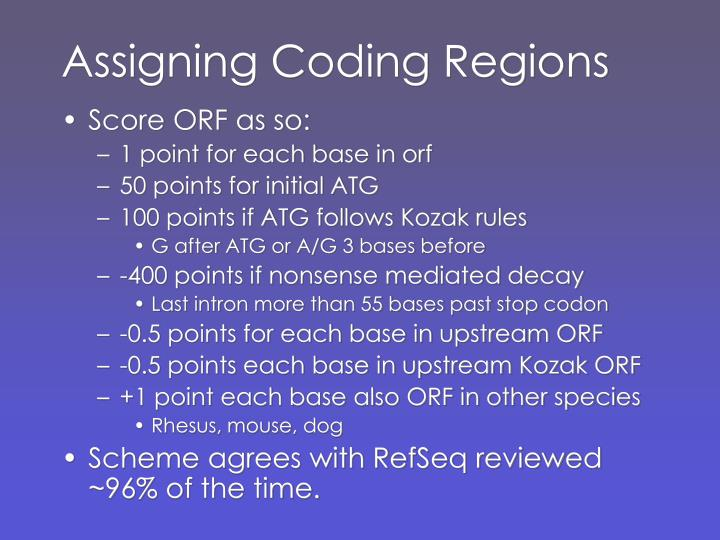 Assigning Coding Regions