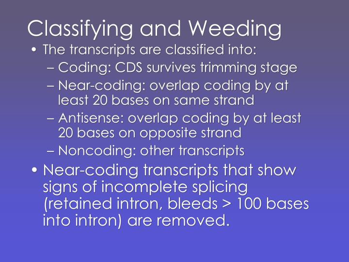 Classifying and Weeding