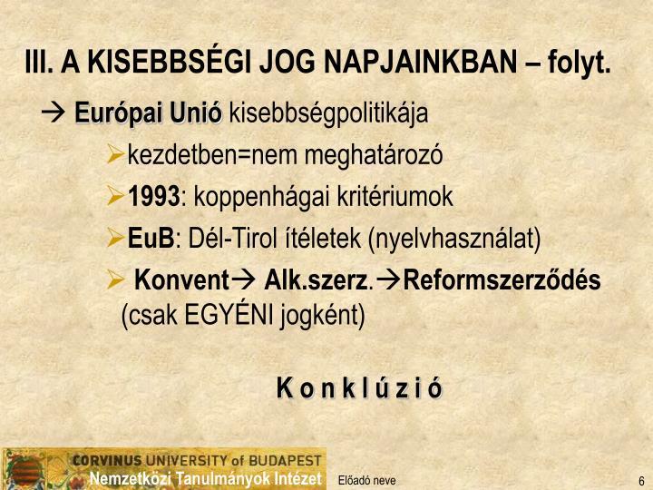 III. A KISEBBSÉGI JOG NAPJAINKBAN – folyt.