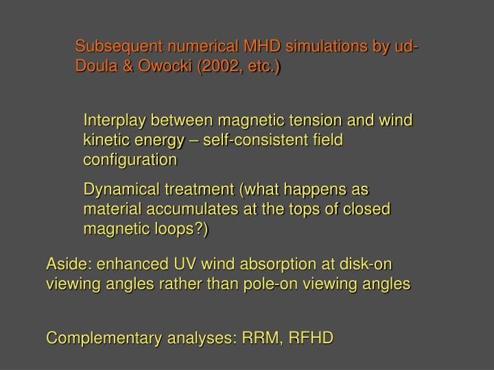 Subsequent numerical MHD simulations by ud-Doula & Owocki (2002, etc.)