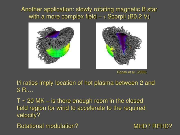 Another application: slowly rotating magnetic B star with a more complex field –
