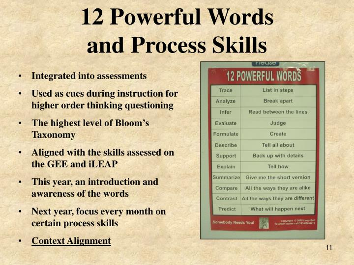 12 Powerful Words                       and Process Skills