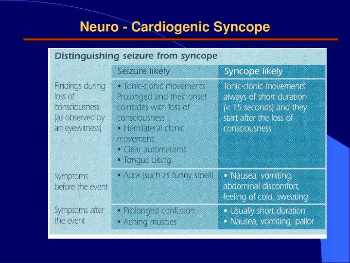 Neuro - Cardiogenic Syncope