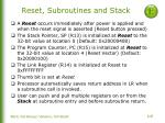 reset subroutines and stack