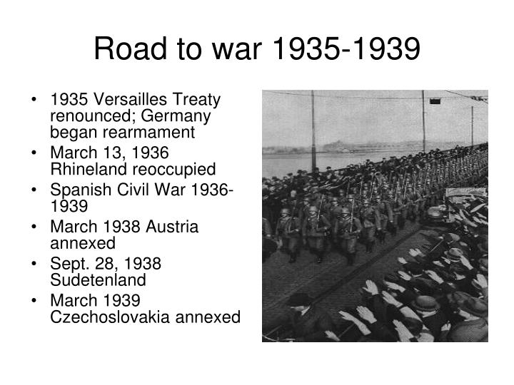 1935 Versailles Treaty renounced; Germany began rearmament
