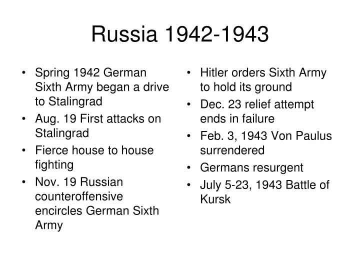 Spring 1942 German Sixth Army began a drive to Stalingrad
