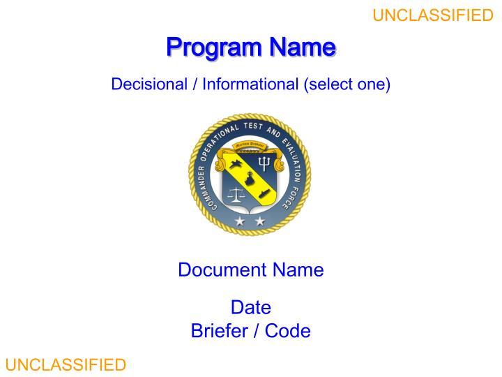 program name