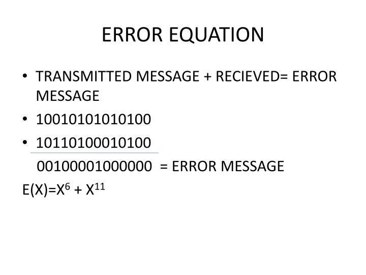 ERROR EQUATION