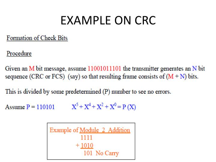 EXAMPLE ON CRC