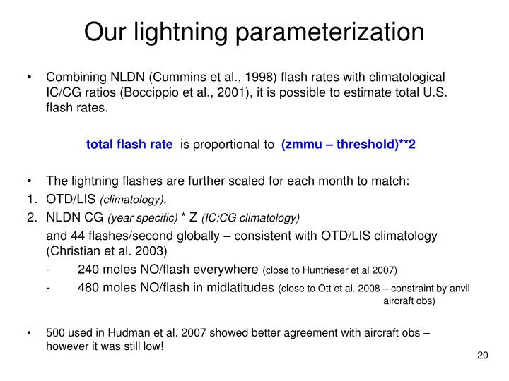 Our lightning parameterization
