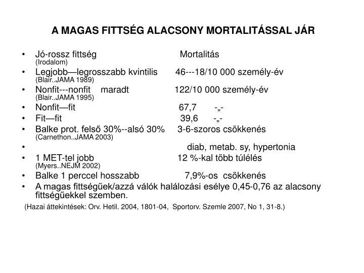 A MAGAS FITTSÉG ALACSONY MORTALITÁSSAL JÁR