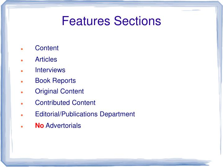Features Sections