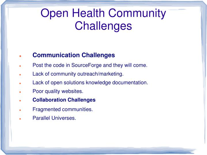 Open Health Community Challenges