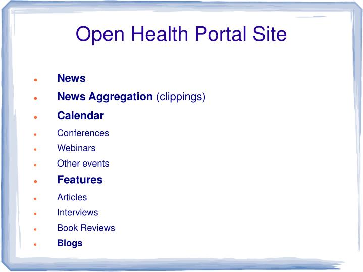Open Health Portal Site