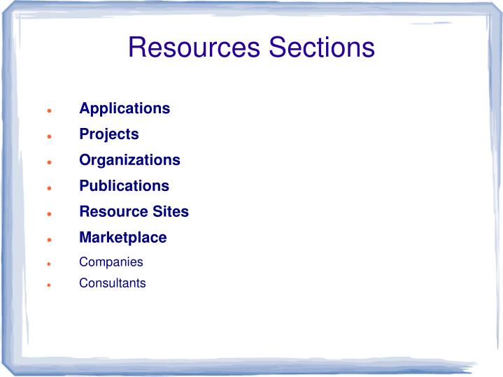 Resources Sections