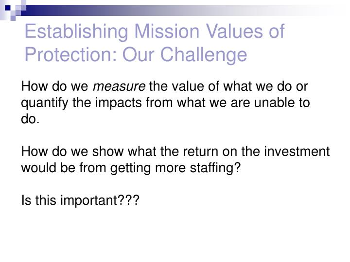 Establishing Mission Values of