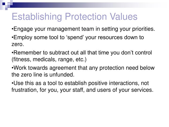 Establishing Protection Values