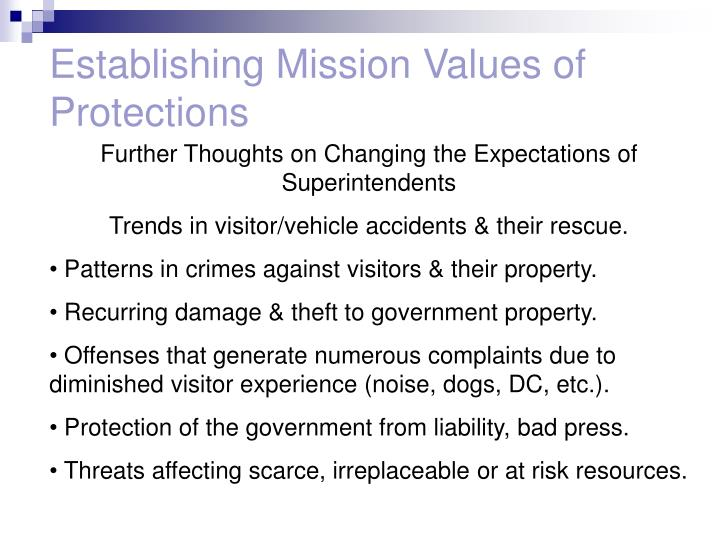 Establishing Mission Values of Protections