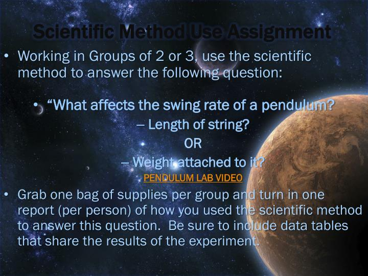 Scientific Method Use Assignment