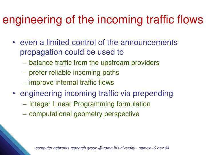 engineering of the incoming traffic flows