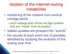 location of the internet routing instabilities