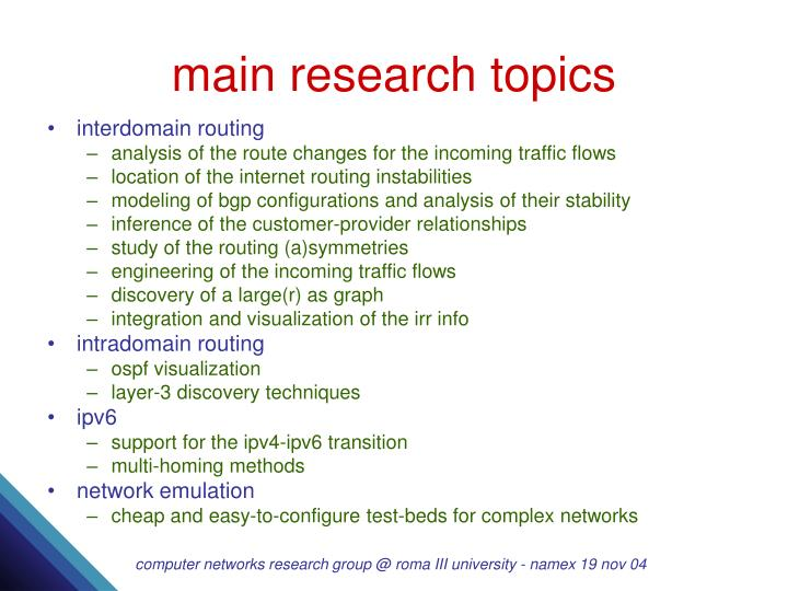Main research topics