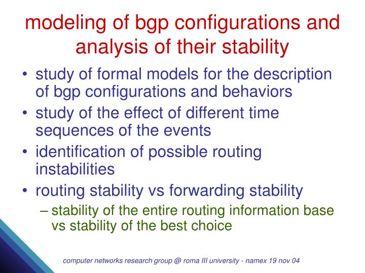 modeling of bgp configurations and analysis of their stability