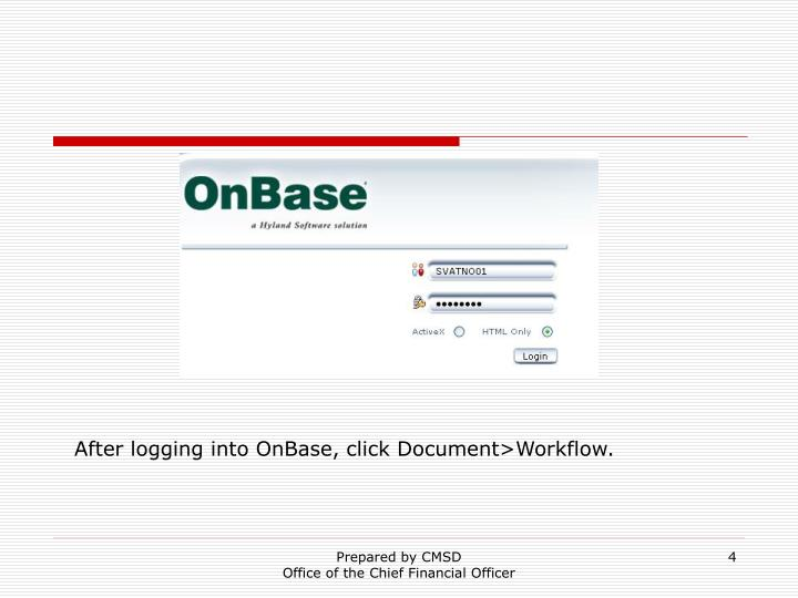After logging into OnBase, click Document>Workflow.