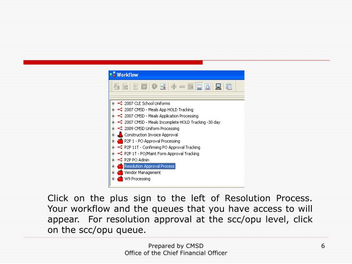 Click on the plus sign to the left of Resolution Process.  Your workflow and the queues that you have access to will appear.  For resolution approval at the scc/opu level, click on the scc/opu queue.
