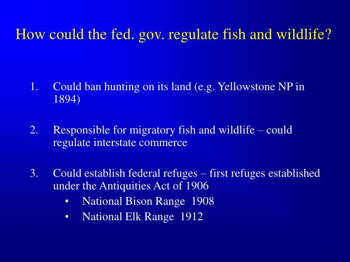 How could the fed. gov. regulate fish and wildlife?