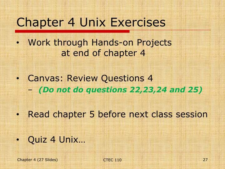 Chapter 4 Unix Exercises
