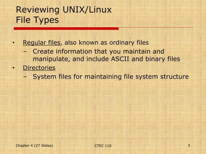 Reviewing UNIX/Linux