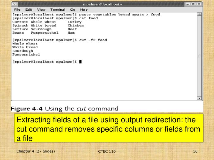 Extracting fields of a file using output redirection: the cut command removes specific columns or fields from a file