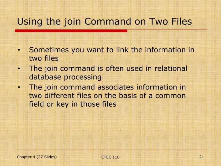 Using the join Command on Two Files
